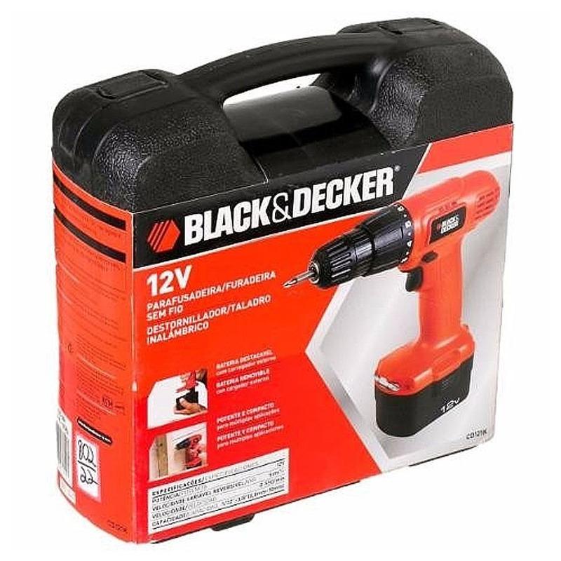 Furadeira e Parafusadeira à Bateria 12V Com Maleta Plástica - CD121K-BR - Black&Decker - Bivolt