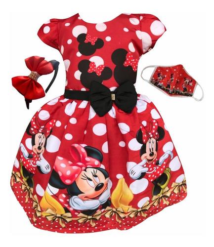 Vestido Minnie Vermelha Vermelho Luxo + Tiara Brinde Original