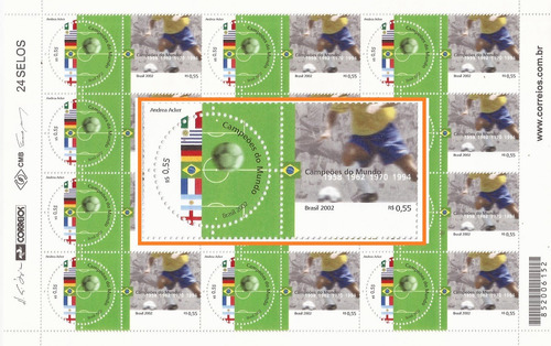 Folha Inteira Selo 3286-87 Campeões Mundiais De Futebol Fifa Original