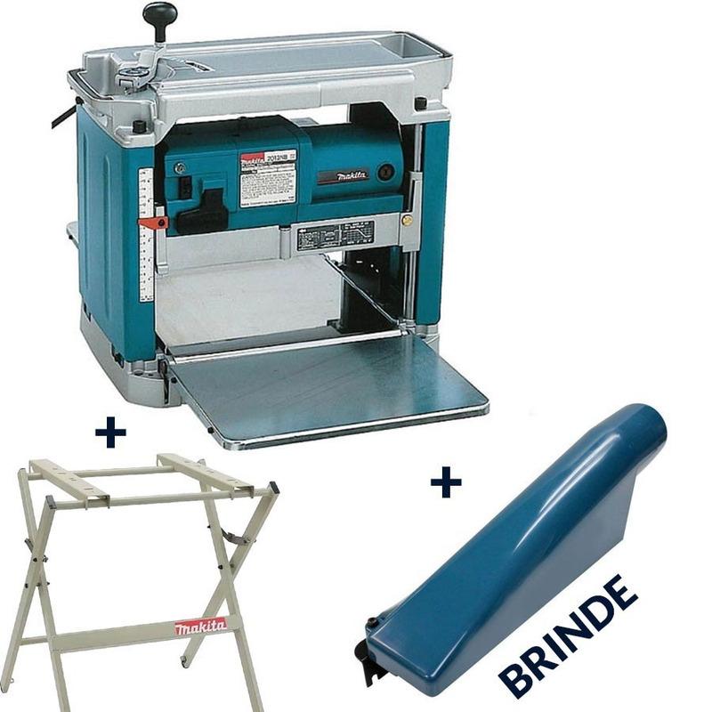Kit Plaina Desengrosso 2012NB + Mesa para 2012NB + BRINDE Coletor de Pó - Makita - 220 Volts