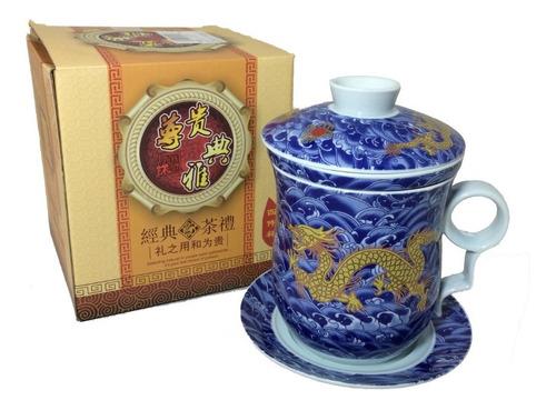 Caneca Infusor De Chá Dragão Oriental Cerâmica Pires Azul Original
