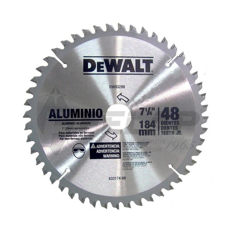 """Lâmina de Widea Dewalt 7.1/4 x 1"""" 48D p/ Alumínio"""