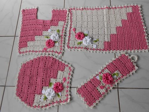 Jogo De Banheiro Em Crochê,cor Rosa Com Crú,4 Peças,barbante