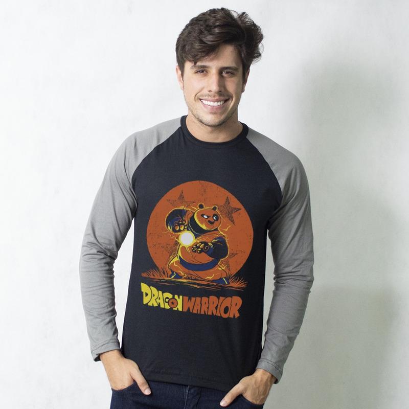 MANGA LONGA RAGLAN PRETA - DRAGÃO GUERREIRO