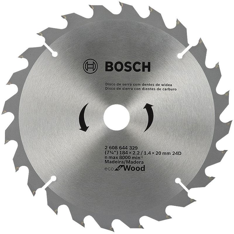 """Disco de Serra ECO 24 Dentes 184mm 7.1/4"""" - 2 608 644 329 - Bosch"""