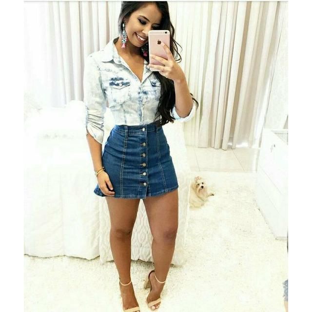 2d41dea349 Conjunto Feminino Saia E Camisa Jeans Instagram P M E G em São Paulo ...