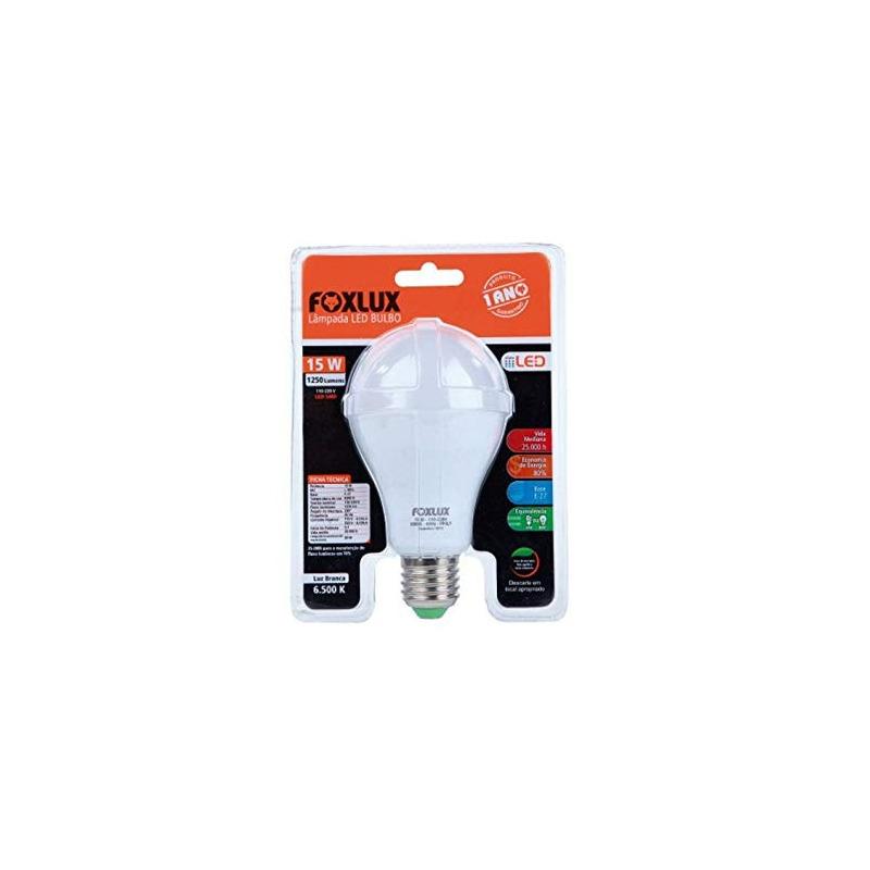 Lâmpada Led bulbo certificada 15W 6500K bivolt- Foxlux