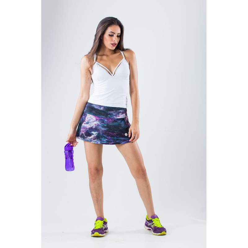 Saia Shorts Estampada Light Buraco Negro