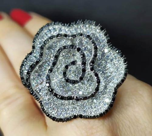 Hf8-anel Flor Prata 925 Zirconias Negras Brancas Rodio Original