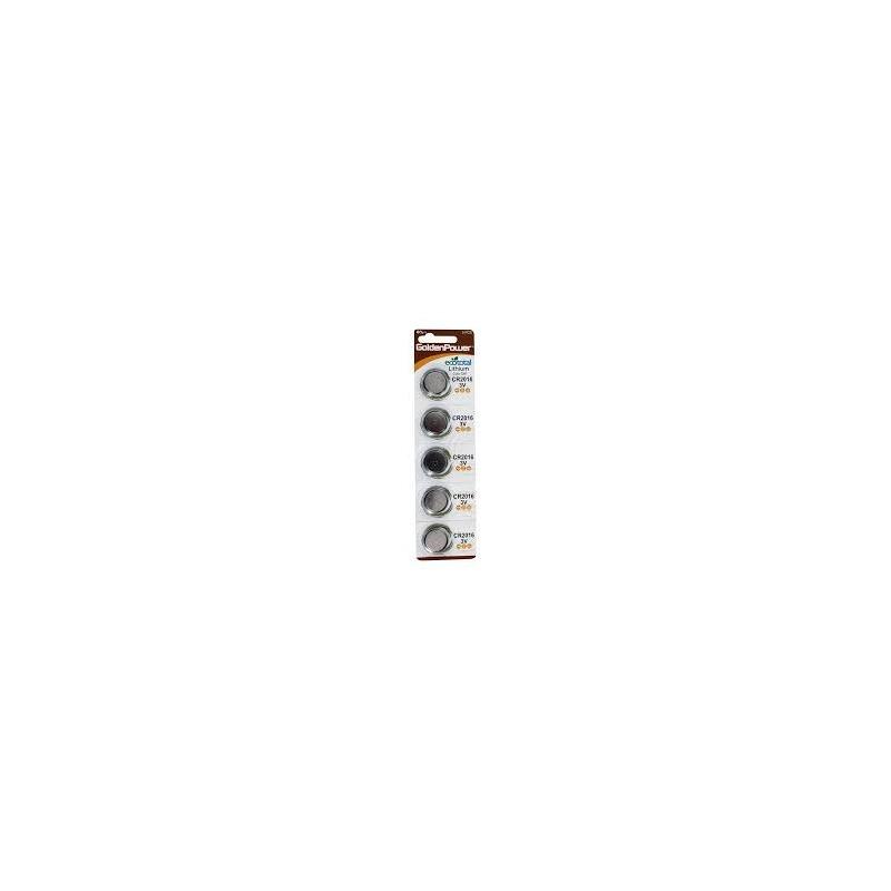 Bateria de Lítio CR2016BC5 GoldenPower com 5 pcs