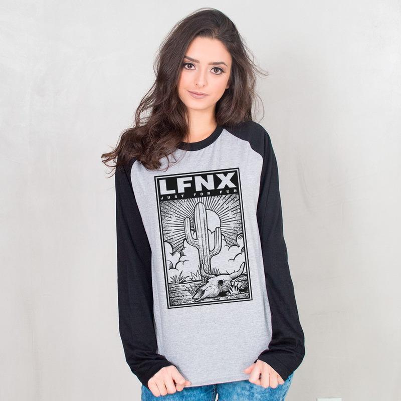 MANGA LONGA RAGLAN CINZA - LFNX