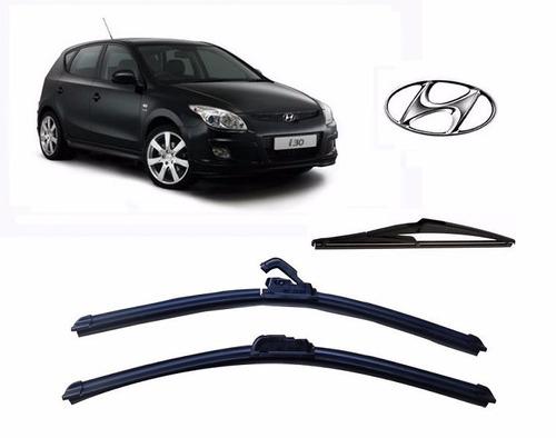 Kit 3 Palhetas Parabrisa Diant+tras Hyundai I30 2010 A 2012