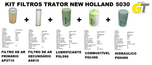 Kit De Filtros Trator New Holland 5030 Original
