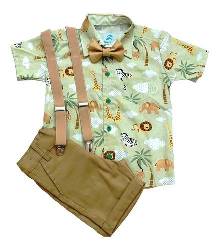 Safari Roupa Festa Mickey Safári Verde Menino Conjunto Social Camisa Temática, Bermuda Com Suspensório Infantil Original