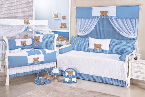 Kit Berço Bebê Urso Dorminhoco Azul Ursinho + Cortina Original