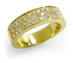 Meia Aliança De Ouro 18k E Diamantes Com Forro Vivar Joias Original