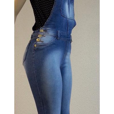 Macac o jardineira cal a jeans feminino azul comprido for Jardineira jeans feminina c a