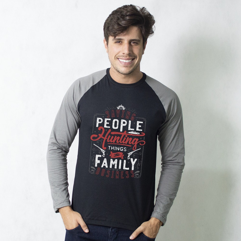 MANGA LONGA RAGLAN PRETA - THE FAMILY BUSINESS