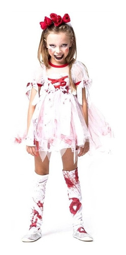 Fantasia De Halloween Noiva Ensanguentada Infantil Completa Original
