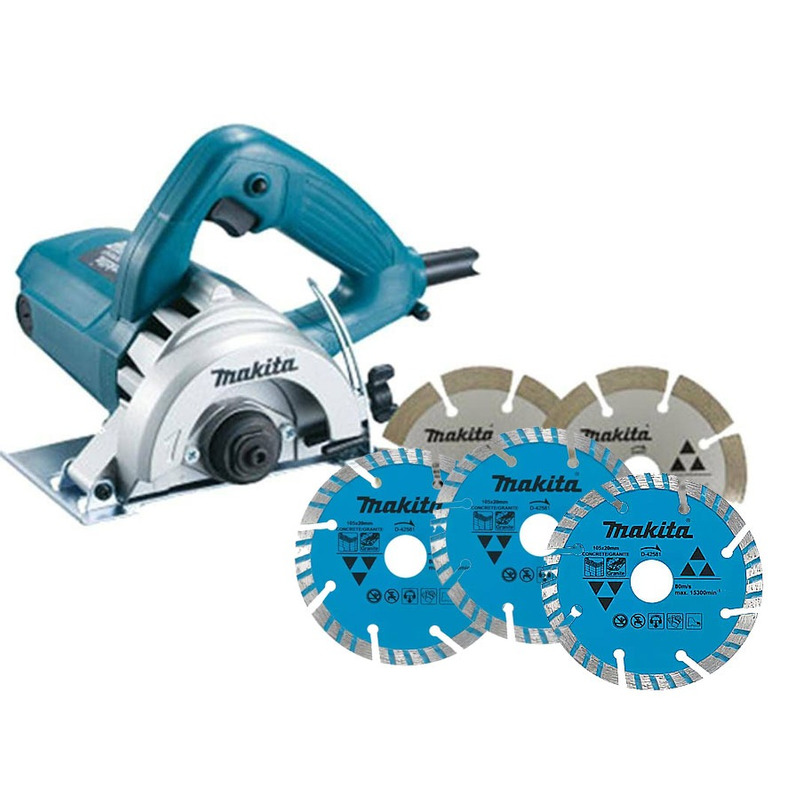 Kit - Serra Mármore 110mm 1275W - 4100NH3ZX2 - Makita + 3 Discos Diamantados - Concreto/Granito 105 x 20mm - D-42581 - 220 Volts