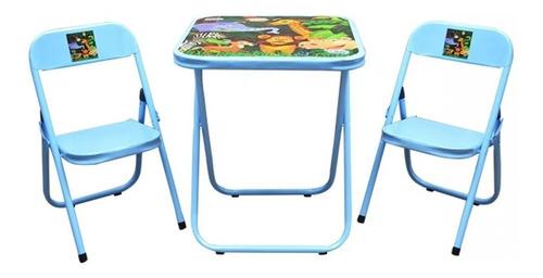 Conjunto De Mesa Infantil C/ 2 Cadeiras Dobrável Azul 003 Original