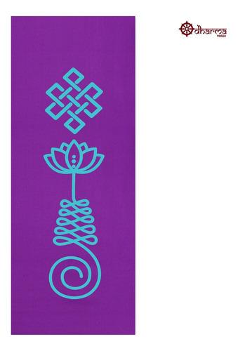 Tapete Yoga Premium Roxo Estampa Unalome  2,00m - 5mm