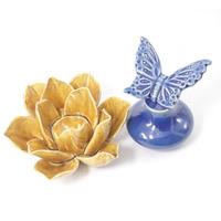 Flor e perfumeiro em cerâmica para decoração - Amarelo e Azul