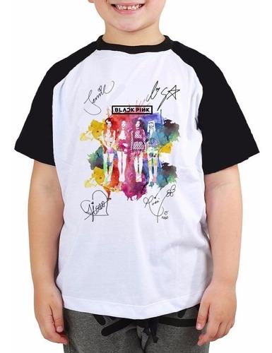 Camiseta Infantil Black Pink Autografos Camisa Kpop Raglan Original