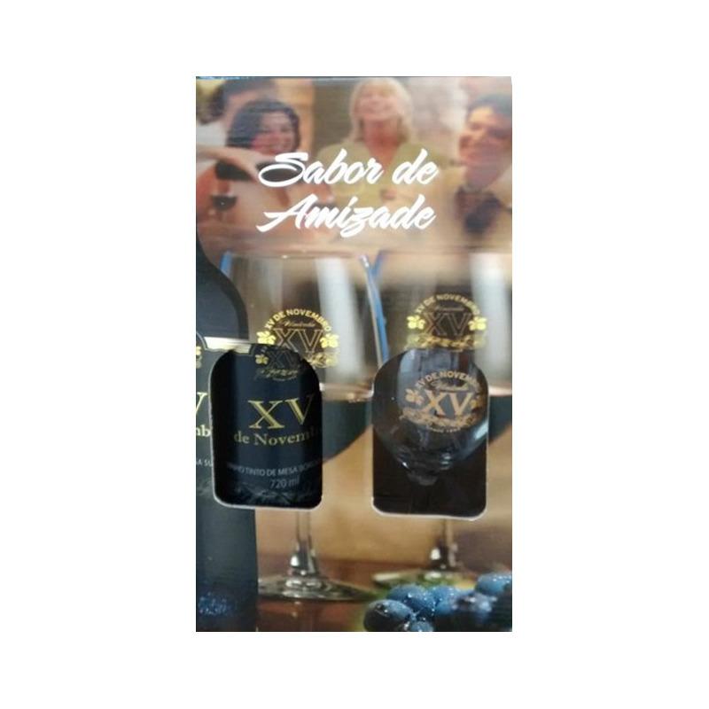 Kit Vinho Tinto Suave + 1 Taças + Embalagem p/ Presente - XV de Novembro