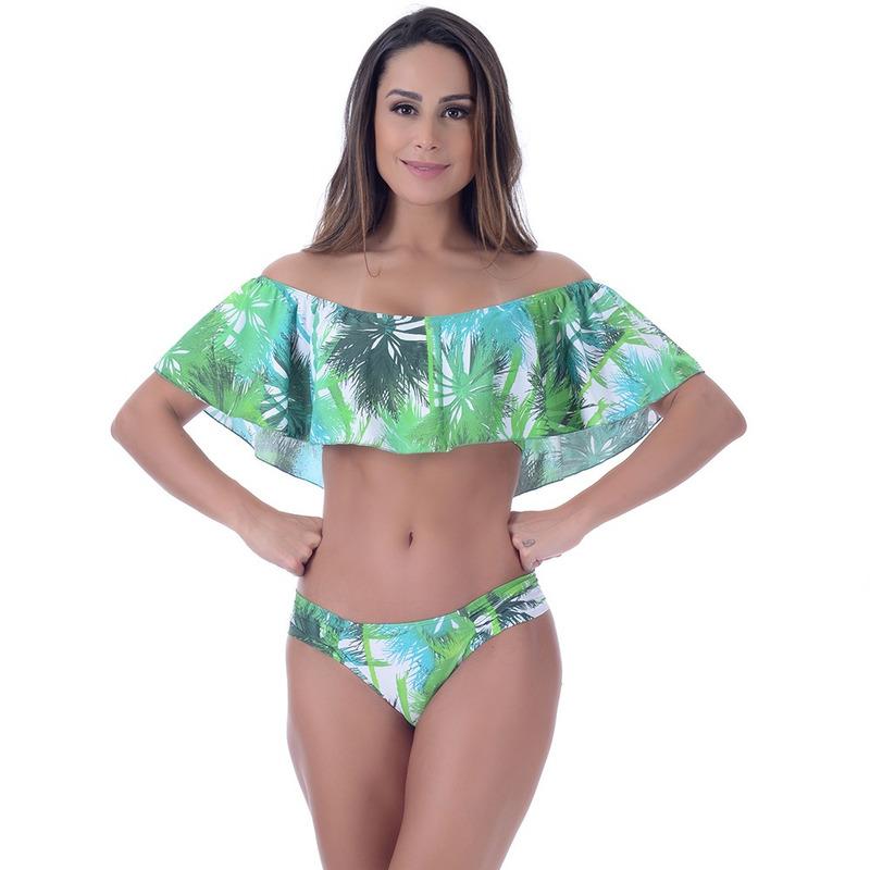 Calcinha Summer Soul Cós Médio Com Lateral Franzida Jungle Verde