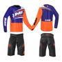 Kit Conjunto Downhill Ims Flex Short E Camisa Preto Laranja