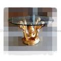 Mesa Jantar est Classico redonda Maciça Folha a Ouro Entalhada alta Decoração c Tampo de Vidro redondo Design Luxuoso Exclusivo