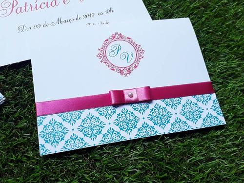 120 Convites - Azul Tiffany Com  Rosa - Personalizado-evento Original