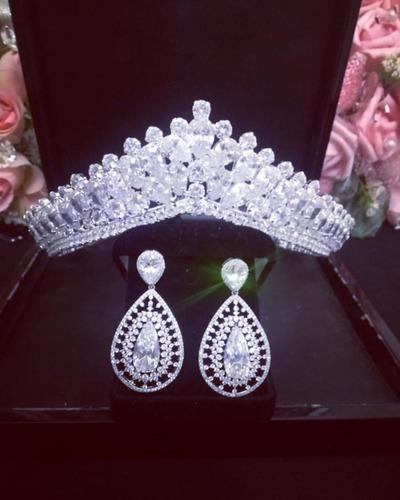 Kit Coroa E Brinco Cabelo Noiva Prata Zirconia Princesa Luxo Original