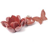 Flor e perfumeiro em cerâmica para decoração - Vermelho