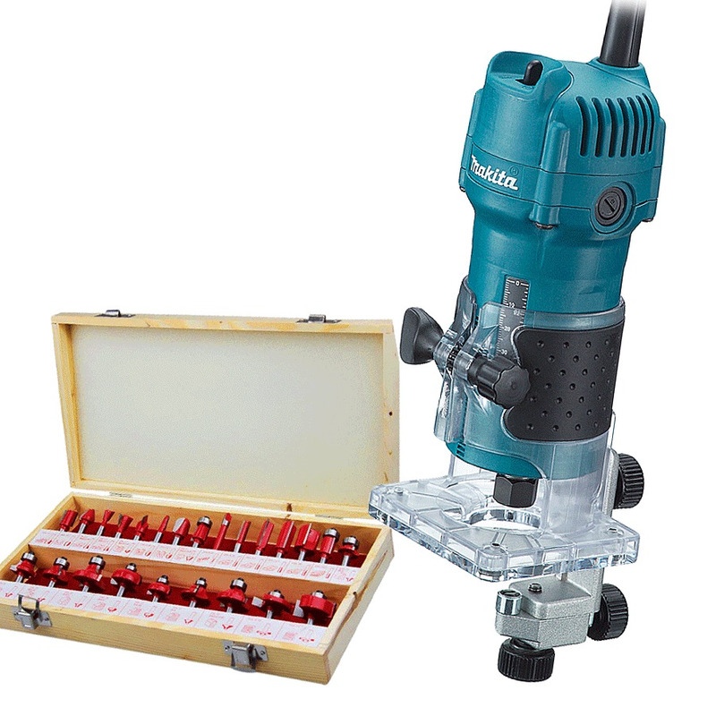 "Kit Combo Tupia 6mm 1/4"" 530 Watts 3709 Makita + Kit de 24 Fresas para Madeira Haste de 1/4"" CQT024 - 110 Volts"