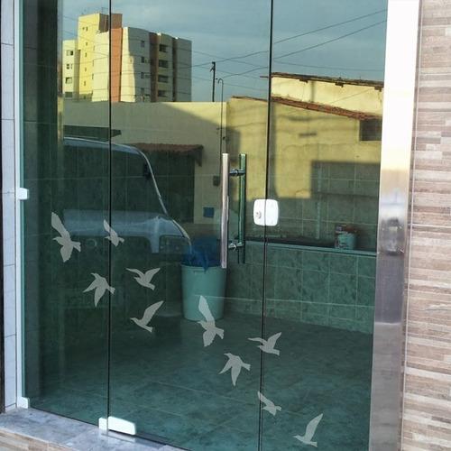 Adesivo Decorativo Para Vidro Pássaros Jateados (100x068)cm