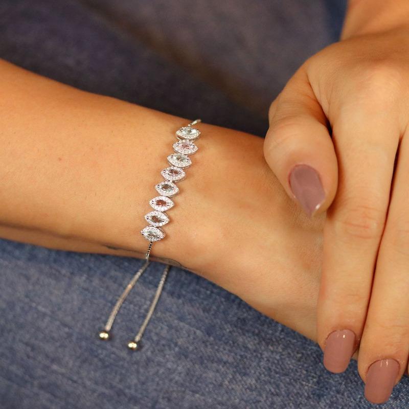 Pulseira prata 925 colors regulável - PL040039