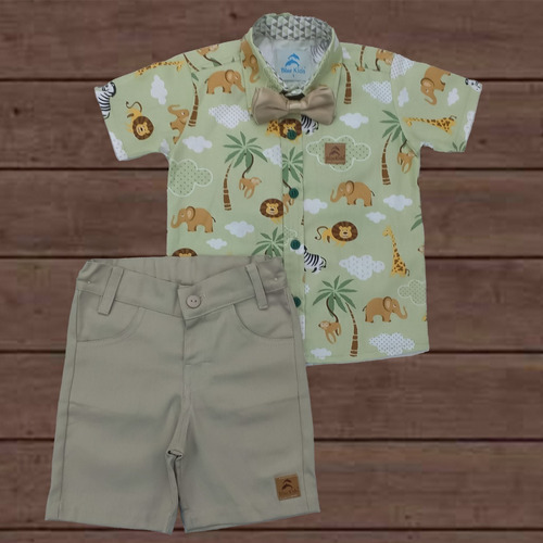 Conjunto Roupa Social Infantil Safari Verde