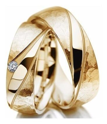 Par Alianças Ouro 18k 18gr 6mm Anatômica 1 Diamante Original