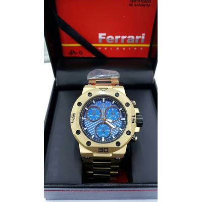 08ae4cb79ce Relógio Ferrari Dourado Cronógrafo T12jo52b 2 Anos De Gar Nf ...