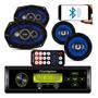 Kit Auto Radio Mp3 Bluetooth Falante 6 6x9 Pol Antena