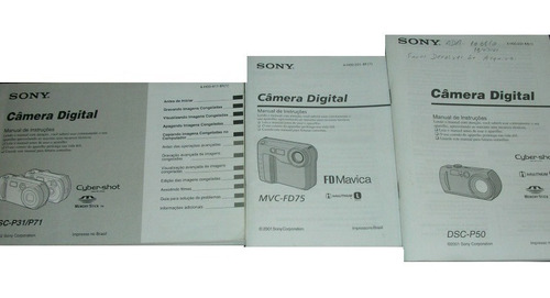 Manuais Antigos Da Sony Câmeras Digitais E Televisor 29 - 34 Original