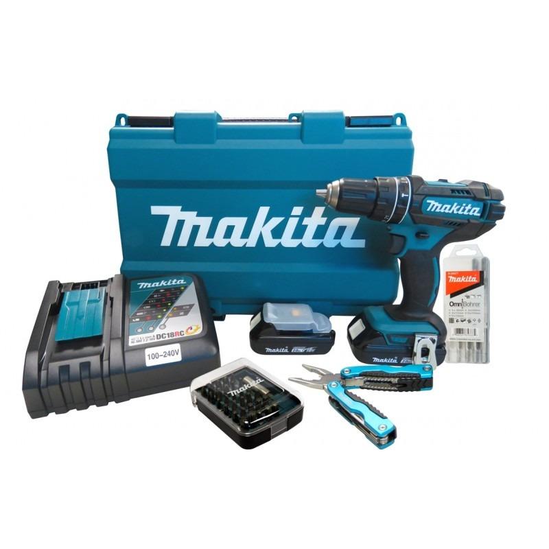 Parafusadeira e Furadeira de Impacto à Bateria 18V + Bateria + Kit Brocas/Bits DHP482RAE-P - Makita