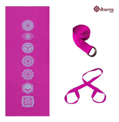 Kit Yoga Rosa Estampa 7chakras 4mm+alça+cinto De Alongamento