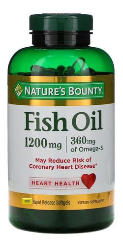 Omega 3 Nature's Bounty Fish Oil 1200mg 180 Caps Sem Cheiro Original