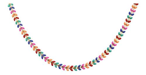 Colar Mucci Chocker Com Folhinhas Coloridas Banho Ouro 18k. Original