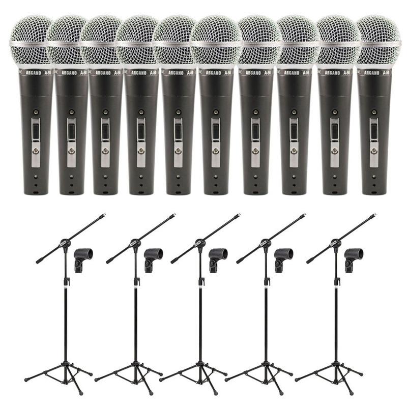 Kit 10 Microfones Arcano A58 Xlr-xlr + 5 Pedestais Vector