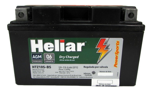 Bateria Htz10s-bs 12v 8,6ah Yamaha Yzf R6 R1 Tdm 900 Heliar Original
