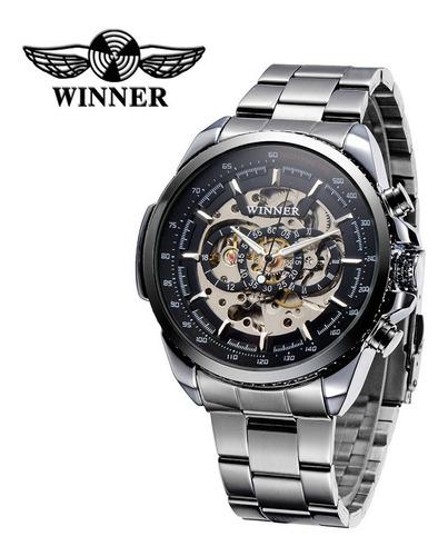 Vencedor Hollowed-out Relógio Mecânico Semi Automático Al Original